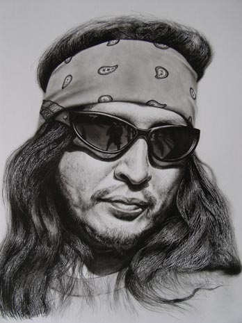 Charcoal Drawing of Hispanic Biker