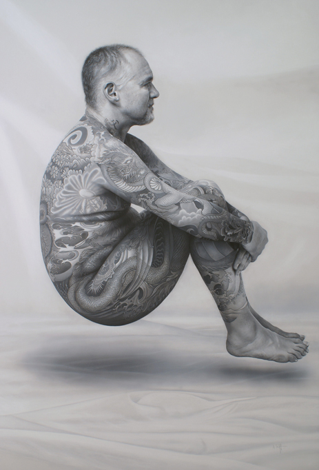 The Curious Case of the Levitating Tattooed Man Acrylic on canvas